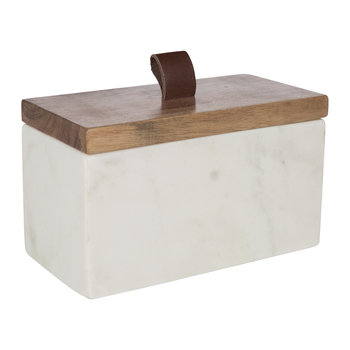 Rectangular Marble Lidded Pot