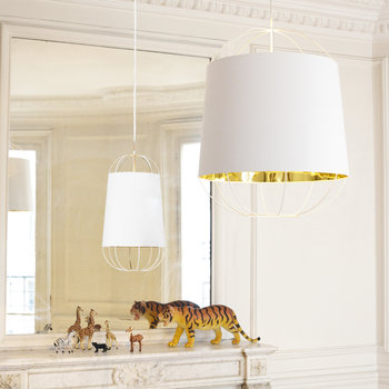 Lanterna Pendant Lamp - Small - White/Gold