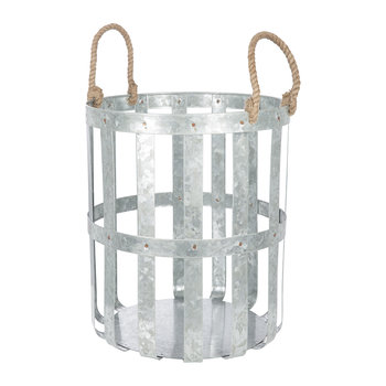 Large Woven Galvanized Basket with Rope Handles