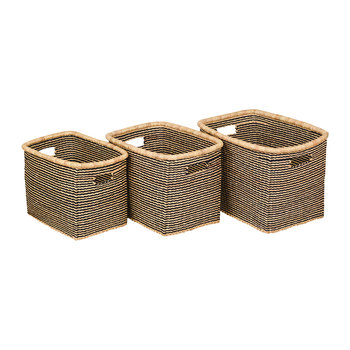 Akosu Rectangle Hand Woven Storage Baskets - Black Stripes