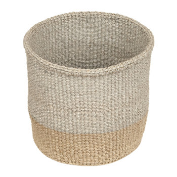 Linear Fusion Mbili Hand Woven Basket - Grey/Brown