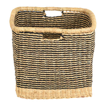 Zangira Square Hand Woven Storage Basket - Black Stripes