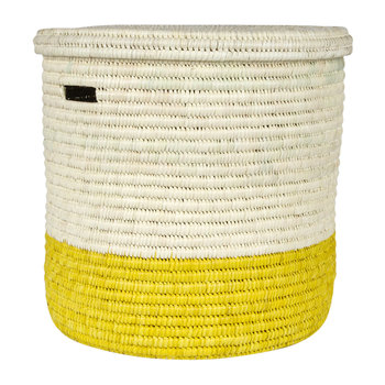 Vipi Hand Woven Color Block Laundry/Storage Basket - Yellow