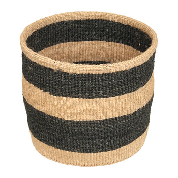 Linear Fusion Mchoro Hand Woven Basket - Black Stripe