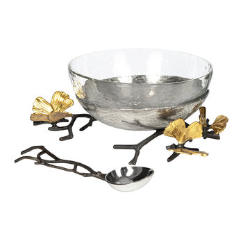 Butterfly Ginkgo Glass Nut Dish
