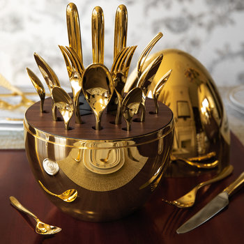 Mood Cutlery Egg - Set of 24 - 24 Carat Gold