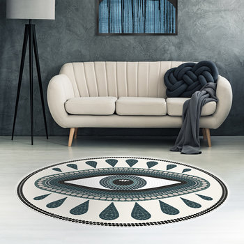 An Eye for An Eye Round Vinyl Floor Mat - White