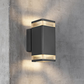 Elm Double Outdoor Wall Light - Black