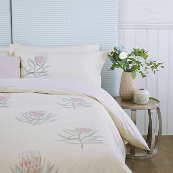 Protea Flower Duvet Cover - Sea Pink