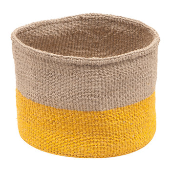 Ghafla Colour Block Hand Woven Basket - Grey/Yellow