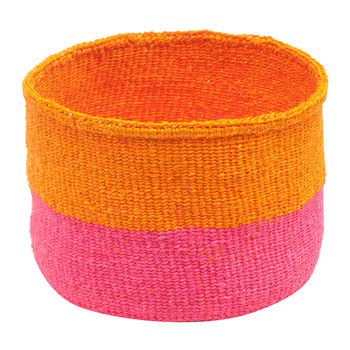 Kali Colour Block Hand Woven Basket - Orange/Bright Pink