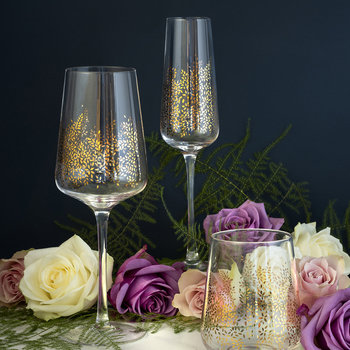 Chelsea Gold Leaf Champagne Flute - Set of 4