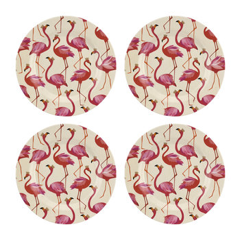 Flamingo Collection Melamine Plate - Set of 4 - Side Plate - 20cm
