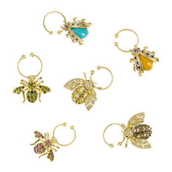 Bedazzled Bee Wine Charm - Set of 6