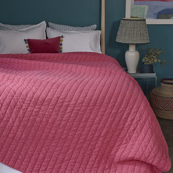 Washed Quilted Bedspread - Lipstick