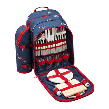 Four Person Picnic Rucksack - Blue Dog