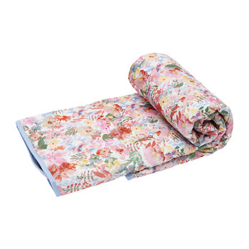 Quilted Picnic Rug - White Floral