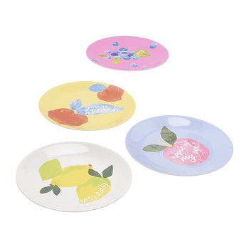Hollyhock Meadow Garden Plates - Set of 4 - Yellow Floral