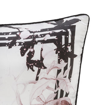 Bird Ramage Silk Pillow - Rose