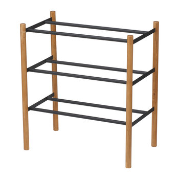 Extendable Three Tier Shoe Rack - Black