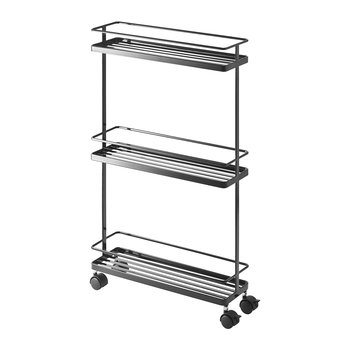 Slim Three Tier Storage Trolley - Black