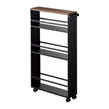 Wood Topped Three Tier Storage Trolley - Black