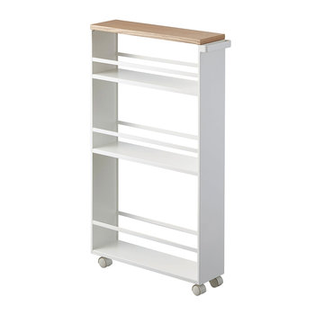 Wood Topped Three Tier Storage Trolley - White