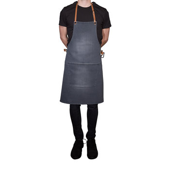 BBQ Style Denim Apron - Washed Gray
