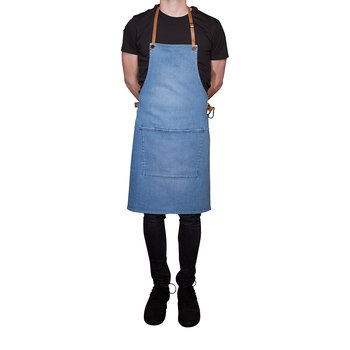 BBQ Style Denim Apron - Washed Indigo