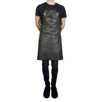 BBQ Style Leather Apron - Vintage Grey/Black