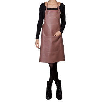 Zipper Style Leather Apron - Dusty Pink