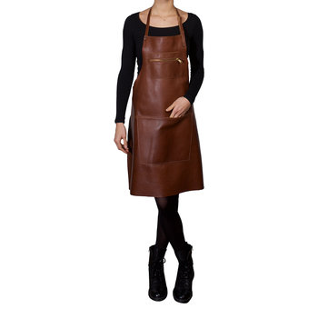 Zipper Style Leather Apron - Classic Brown
