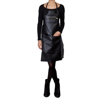 Zipper Style Leather Apron - Black