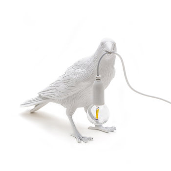 Bird Outside Lamp - Waiting - White