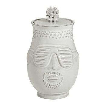 White Ceramic Hip Hop Canister - The Prince