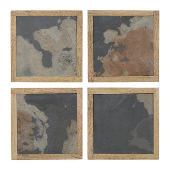 Slate Veneer Coasters - Set of 4 - Grey