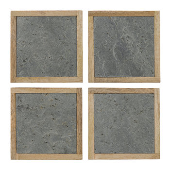 Slate Veneer Coasters - Set of 4 - Silver