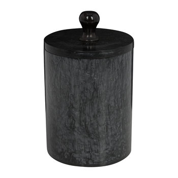 Marbled Resin Storage Pot - Black