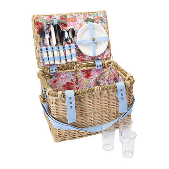 Four Person Picnic Basket - White Floral