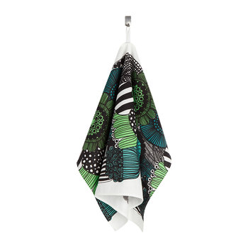 Pieni Siirtolapuutarha Tea Towel - White/Green/Black