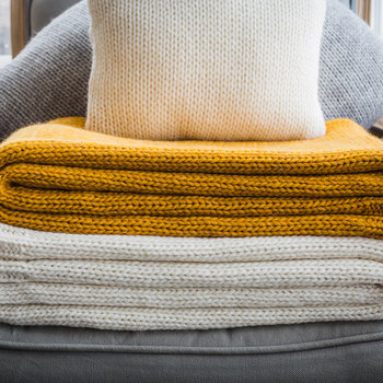 Knitted Alpaca Throw - Mustard