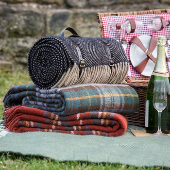 Pure New Wool Polo Picnic Rug - Herringbone Vintage/Brown