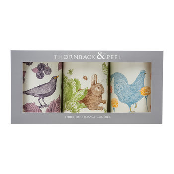 Blackbird, Rabbit & Chicken Set of 3 Round Tins
