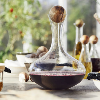 Glass Carafe with Oak Stopper - Wide