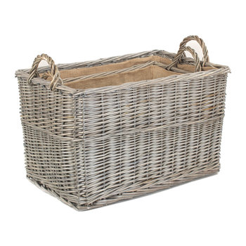 Antique Wash Rectangular Hessian Lined Basket Set 2 - Set of 2