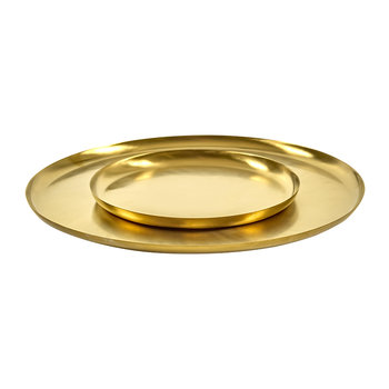 Brushed Steel Gold Serving Dish