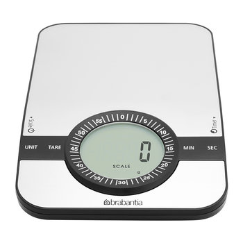 Digital Kitchen Scales with Timer - Matt Steel - Rectangular