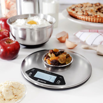 Digital Kitchen Scales with Timer - Matt Steel - Round