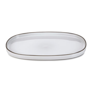 Caractere Oval Serving Plate - White