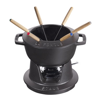 Fondue Set with 6 Forks - Black